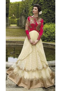 Buy Designer Net Embroidery Work Gown In AngelNX. Zari And Stone Work Wedding Gown, Buy latest stylish salwar kameez suit online shop for indian wedding long gowns to look like a true fashionable diva. Designer Anarkali Dresses, Designer Gowns, Designer Wear, Indian Wedding Wear, Indian Wear, Desi Wedding, Gown Wedding, Indian Style, Indian Bridal