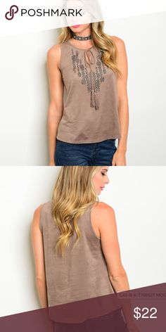 COMING SOON  Suede sleeveless top. Please like this listing to be notified when they are available for purchase!  Boutique Tops Tank Tops
