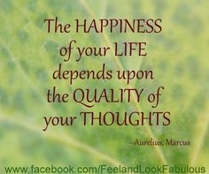 quote: The happiness of your life depends upon the quality of your thoughts. - Marcus Aurelius