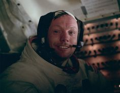 """""""Buzz Aldrin took this picture of Neil Armstrong in the cabin after the completion of the first EVA. This is the face of the first man to set foot on the Moon, just hours earlier, on July 20th, 1969."""""""