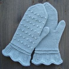 Mittens In Tunisian Crochet 'A Scent Of Mint' - Free Tunisian crochet pattern by Jolanta Gustafsson.