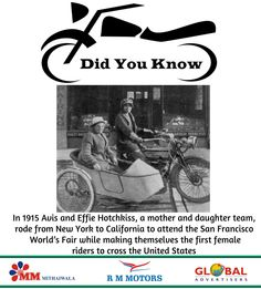 #Did You Know #Facts :- In 1915 Avis and Effie Hotchkiss, a mother and daughter team, rode from #NewYork to #California to attend the San Francisco World's Fair while making themselves the first #Female #Riders to cross the #UnitedStates.  #RMMotors #Bike #BikeLover #DidTouKnowFacts #UniqueFacts #InterstingFacts #FemaleRider #1StFemaleRider #Ride #LongRider