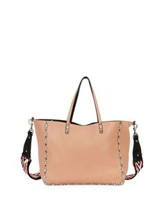 Rolling+Rockstud+Reversible+Leather+Tote+Bag,+Beige/Black+by+Valentino+at+Bergdorf+Goodman.