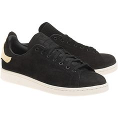 ADIDAS ORIGINALS Stan Smith Metal Black Gold // Leather sneakers with... ($155) ❤ liked on Polyvore featuring shoes, sneakers, gold leather sneakers, black gold shoes, black gold sneakers, adidas originals trainers and perforated leather sneakers
