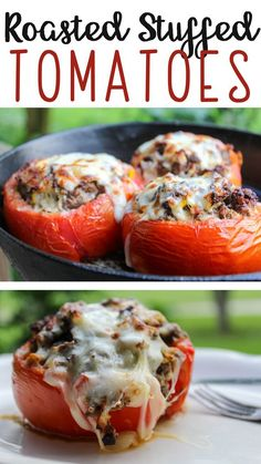 Tomato Recipes Roasted Stuffed Tomatoes Recipe from Buy This Cook That Veggie Recipes, Beef Recipes, Dinner Recipes, Cooking Recipes, Stuffed Tomato Recipes, Garden Vegetable Recipes, Recipies, Stuffed Tomatoes, Stuffed Peppers
