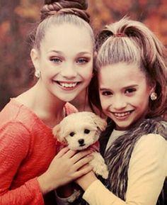 Maddie and Mackenzie Ziegler with Kenzies puppy that Abby gave her for Christmas xxxxxxx