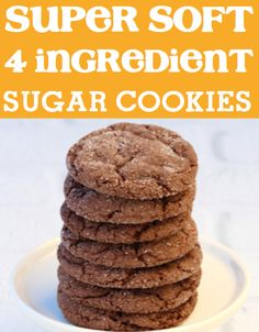 These 4 ingredient Soft Chocolate Sugar Cookies are big on flavor and are so easy to make! Looking for an easy dessert to take to the party or another fun Cookie Recipe to finish off dinner tonight? Chocolate Sugar Cookie Recipe, Sugar Cookie Recipe Easy, Easy Sugar Cookies, Best Cookie Recipes, Chocolate Desserts, Chocolate Cake, Holiday Recipes, Easy Recipes, Thanksgiving Desserts Easy