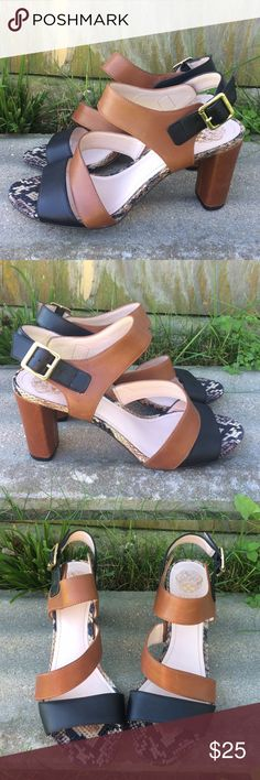 ✨FINAL PRICE✨Host Pick✨ Vince Camuto Block Heels Gorgeous Vince Camuto block style heels. Tiny bit of scuffing on heels and straps as pictured above but otherwise in great condition!! Leather upper, man made lining/sole. Size 9 1/2M. *Colors may vary slightly from pictures* Vince Camuto Shoes Heels