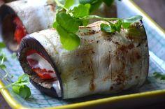 Aubergine/peberfrugt rulle med lækker creme