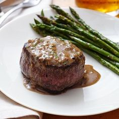 Oven-Seared Beef Tenderloin with Herb Pan Sauce - - A steakhouse quality meal in the comfort of your own home. Swanson Beef Stock, fresh herbs and a bit of cream combine to make a sophisticated pan sauce for quality beef tenderloin steaks. Beef Tenderloin Recipes, Tenderloin Steak, Sirloin Steaks, Steak Recipes, Cooking Recipes, Game Recipes, Beef Sirloin Filet Recipe, Pork Roast, Sauces