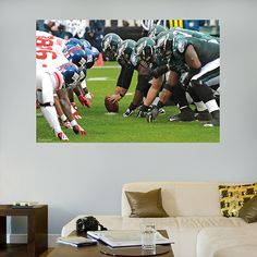 Eagles-Giants Line of Scrimmage Mural Wall Graphic | Philadelphia Eagles Wall Decal | Sports Home Décor | Football Bedroom/Man Cave/Nursery