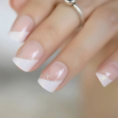 French Nails Glitter, Almond Nails French, French Nail Art, French Nail Designs, Glitter Nails, Nail Art Designs, French Tip Gel Nails, French Manicure With A Twist, White Tip Nails