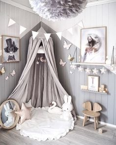 Love this beautiful kid's room! Linen canopy, Miffy lamp and Vita Eos lamp - Project Nursery - meadoria Baby Bedroom, Baby Room Decor, Nursery Room, Girl Nursery, Girls Bedroom, Trendy Bedroom, Bedroom Green, Bedroom Decor, Baby Girl Nurserys