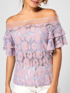 Off The Shoulder Floral Lace Ruffle Sleeve Top