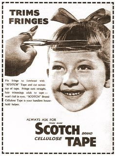 fringe trim scotch tape ad from 1950s