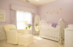 The walls in the nursery are already this color but with dark oak trim.