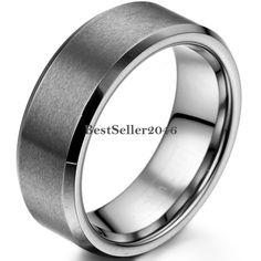8mm Matte Finish Comfort Fit Tungsten Carbide Ring Beveled Edges Wedding Band #UnbrandedGeneric #Band