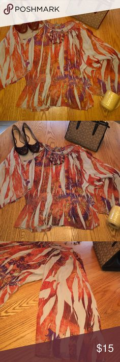 Classy NY Collection 2X Flowy, Fun Sleeved Shirt Super cute!  Women's 2X flowy shirt, with fun, oversized sleeves. Elastic around waist. Beautiful orange colors, deep purples, yellows and cream. Scoop elastic neck line. Wear dressy with slacks or more casual with jeans. NY Collection Tops Blouses