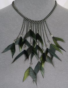 Flying V Magpie Necklace feather jewellery magpie tail by Skullbag, £44.00