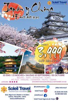 Japón y China Fantásticos  Incluye: Aéreos / 3 noches en Beijing / 1 noche en Xi'an / 1 noche en tren bala / 2 noches en Shanghái / 3 noches en Tokio / 1 noche en Hakone / 2 noches en Kioto / Traslados en autobús privado de lujo / Guías locales de habla hispana durante todo el recorrido / Boleto de clase económica JR Shinkansen (Odawara – Kioto) / Boleto de clase económica en Shinkansen y Kyoto- Osaka (tren local) / Servicio de traslado de equipaje  Salidas: 10 Septiembre y 5 Octubre 2015