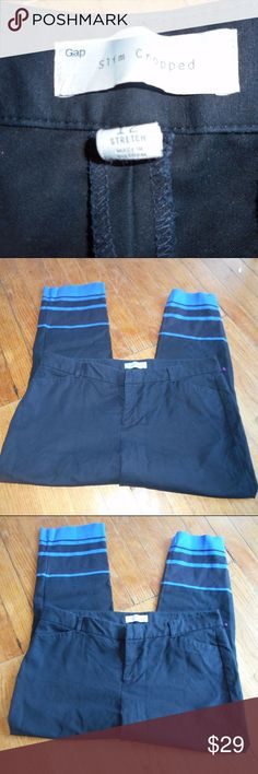 Gap Adorable Slim Cropped Ankle Pant Navy Blue Gap Navy Blue Ankle Stripe Pant Adorable Size 12 stretch Khaki Chino Business Casual Dress Work Pants Like New Worn Once No Flaws 18 across 10 inch rise 26 inch inseam cropped ankle pant GAP Pants Ankle & Cropped