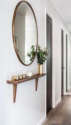 Narrow Entryway, Hallway Ideas Entrance Narrow, Modern Hallway, Entryway Ideas, Entrance Hall, Hallway Mirror, Mirror Mirror, Small Entryway Decor, Grey Hallway