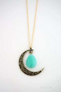 Vintage Boho Half Moon Pendant Faceted Teardrop by Bumhemian, $19.95
