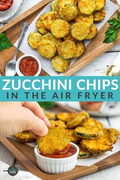 Make amazing Air Fryer Zucchini Chips for your family with this simple recipe! A crunchy coating of panko breadcrumbs and parmesan cheese make these healthier fried zucchini chips poppable and irresistible. No air fryer? You'll also find alternative cooking methods in the post. Air Fryer Oven Recipes, Air Frier Recipes, Air Fryer Dinner Recipes, Zucchini Side Dishes, Healthy Side Dishes, Veggie Dishes, Healthy Foods, Veggie Snacks, Yummy Snacks