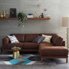 Dekalb 3-Piece Premium Leather Terminal Chaise Sectional | west elm I covet this sofa.