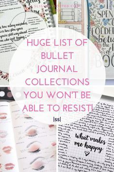 Here's one huge list of bullet journal collections with lots of examples! There are some really inspiring bullet journal collection ideas here, I'm definitely going to be pinching some of these ideas for my bullet journal! Digital Bullet Journal, Bullet Journal How To Start A, Bullet Journal Notebook, Bullet Journal Spread, Bullet Journal Layout, Bullet Journal Ideas Pages, Bullet Journal Inspiration, Journal Pages, Bullet Journals