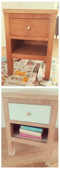 Nightstand re-style idea. Whitewash coating with mint green painted drawer.