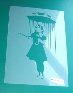 Banksy Niola Girl with umbrella rain stencil, banksy rain girl stencil, Banksy stencils for painting walls, Home wall art decor, sizes XS-XL