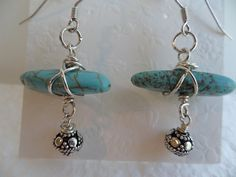 Turquoise Howlite Sterling Silver Wire Wrapped Handmade Artisan Drop Earrings, Women's Turquoise Howlite Dangle Earrlings by ThenThereWereThree on Etsy