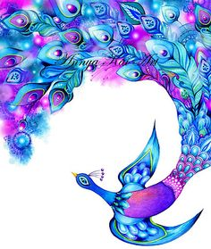 Peacock Tail Feathers Abstract Watercolor Fantasy Painting Bird Wall Art TATTOO IDEA