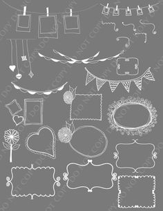 Frames, Corners, Banners and Buntings Photoshop Brushes/ Overlays for Photographers / chalk/ Clip Art / Stamps / Digital Scrapbooking
