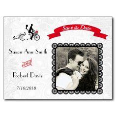 Tandem Bicycle Wedding Invitation Save the Date Postcard