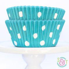 Dot Cupcake Liners: Aqua