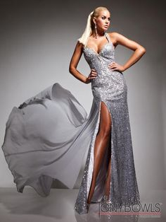 """Silver Screen Starlet"" will be wearing this stunning silver dress by Tony Bowls. #prom"
