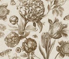 Windsor Botanical in Oyster fabric by sparrowsong on Spoonflower - custom fabric
