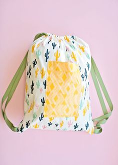 sewing with kids: 30 minute drawstring fabric backpack