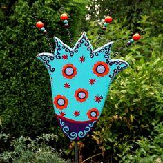 """Pflanzen- und Beetstecker  """"Fantasy-Flower türkis"""" von KIMAMA-design Andrea Abraham auf DaWanda.com"""