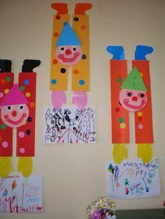 παιχνιδοκαμώματα στου νηπ/γειου τα δρώμενα Clown Crafts, Circus Crafts, Carnival Crafts, Diy Arts And Crafts, Fall Crafts, First Grade Crafts, Art For Kids, Crafts For Kids, Jewish Crafts