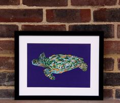 Turtle illustration print by Hatched Art Hatch Art, Decorating Your Home, Turtle, How To Draw Hands, Great Gifts, Wildlife, Vibrant, Colours, Shapes