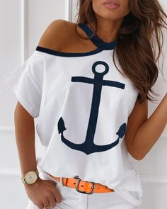 Tops Online Shopping, Trend Fashion, Women's Fashion, Anchor Print, Batik, Casual T Shirts, Tee Shirts, Tees, Tshirts Online