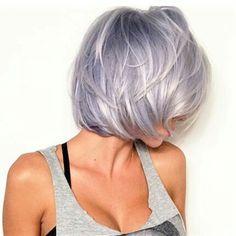 Risultati immagini per silver lavender hair Silver Purple Hair, Silver Lavender Hair, Lavender Color, Purple Bob, Love Hair, Great Hair, Short Hair Cuts, Short Hair Styles, Short Lilac Hair