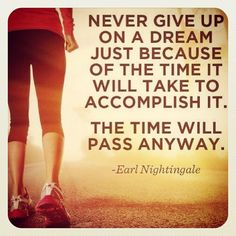 << earl nightingale quote :: never give up on a dream just because of the time it will take to accomplish it; the time will pass anyway >>
