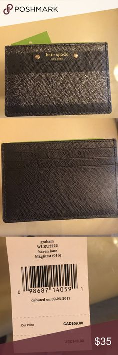 Kaye Spade ID and credit card holder Black sparkly credit card and ID holder! Really cute! kate spade Bags Wallets