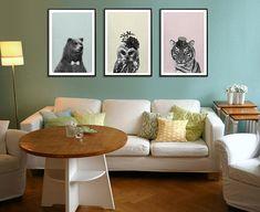 Owl Tiger & Bear Print Childrens wall art Owl art by MyDreamWall