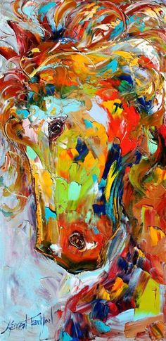 Fine art Print Abstract Horse Portrait 10 x 20 from oil painting by Karen Tarlton - impressionistic whimsical art