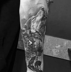 Shaded Howling Wolf Male Inner Forearm Tattoo Designs